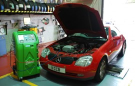 Mercedes at SS Motors In Weybridge Surrey car in workshop image 4